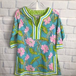 Gretchen Scott Designs Turquoise Floral Tunic